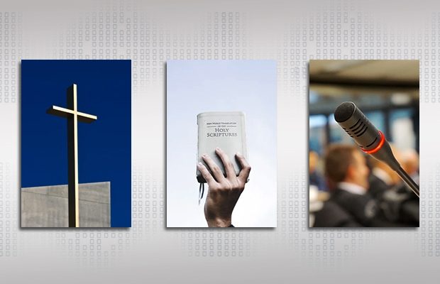 A cross, the Bible, and a microphone.