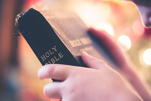 A man holds the Bible in his hands.