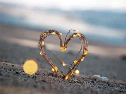 A heart on the sand.