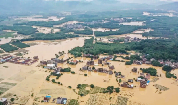 A flood in south China