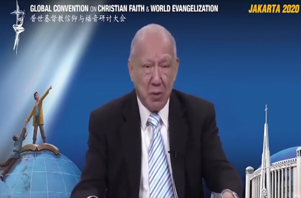 """Stephen Tong gave a lecture entitled """"Universe and Its Focal Point"""" at the opening session of the Global Convention on Christian Faith&World Evangelization on October 1, 2020."""