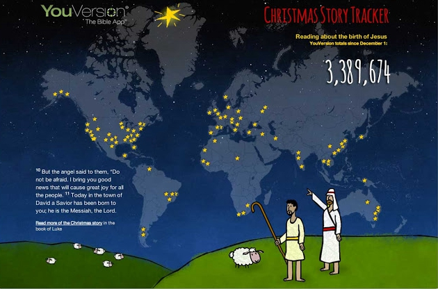 Created by Bible app YouVersion, a Christmas Story Tracker is actually a live map so that when someone reads a Christmas story with the app, in the map lights up a star in a country.