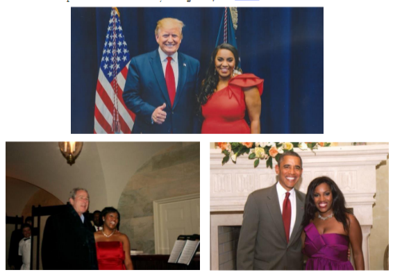 Mary is pictured with U.S Presidents of George W. Bush, Barack Obama and Donald Trump