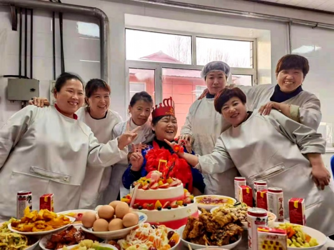 The 68-year-old sister Kou was pictured with fellow workers at her birthday party held at the Red Cross Nursing Home in Qitaihe City, Heilongjiang province on February 15, 2021.