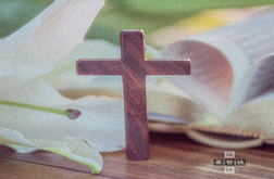 A cross beside a lily and a book