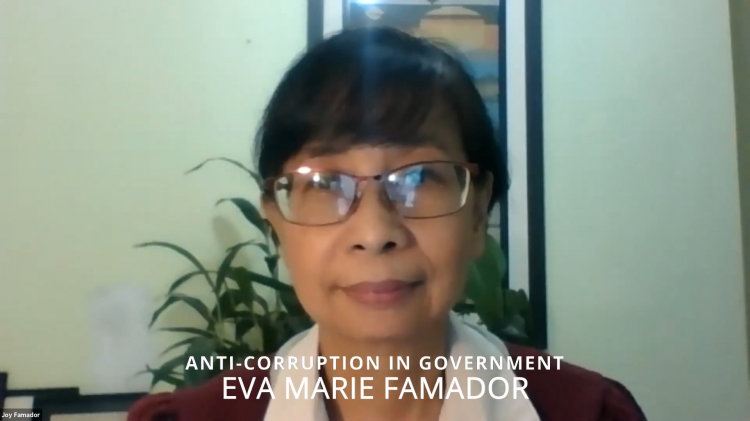 """Eva Marie 'Joy' Famador, the executive director of Christian Convergence for Good Governance, delivered a speech titled """"Anti-corruption in Government: Perspectives and Practices"""" on August 21, 2021."""