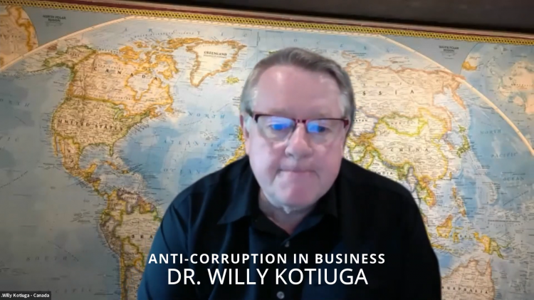 """Dr. Willy Kotiuga, chairman of the Board of Regents of Bakke Graduate University, delivered a talk titled """"Anti-corruption Perspectives and Practices in Business"""" on August 21, 2021."""