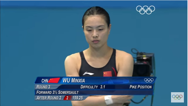 China's Wu Minxia won a gold medal in the women's 3 meters synchronized springboard.